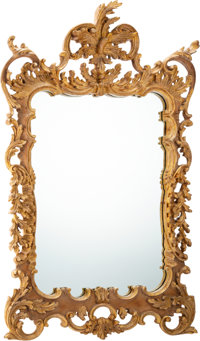 An Italian Rococo-Style Carved and Giltwood Mirror, mid-20th century 53 x 35 x 4 inches (134.6 x 88.9 x 10.2 cm)
