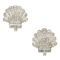 Estate Jewelry:Earrings, Art Deco Diamond, Platinum Earrings . ...