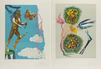 Salvador Dalí (Spanish, 1904-1989) Madame butterfly & the dream (two works), 1978 Lithographs in col