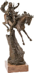 Sculpture, Carl Kauba (Austrian, 1865-1922). For Death and Glory. Bronze with brown patina. 26 inches (66.0 cm) high on a 3 inches ...