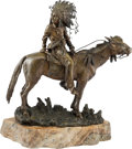 Sculpture, T. Curts (Austrian, fl. 1895-1930). Indian Chief on Horseback. Bronze with brown patina. 13 inches (33.0 cm) high on a 2...