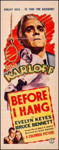 "Movie Posters:Horror, Before I Hang (Columbia, 1940). Very Good on Linen. Insert (14"" X 36""). Horror.. ..."