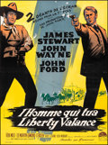 """Movie Posters:Western, The Man Who Shot Liberty Valance (Paramount, 1962). Fine/Very Fine on Linen. French Grande (46"""" X 62.25""""). Western.. ..."""