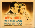 """All This, and Heaven Too (Warner Bros., 1940). Fine+. Linen Finish Title Lobby Card (11"""" X 14""""). Drama"""