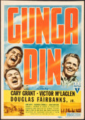 "Movie Posters:Action, Gunga Din (RKO, 1939). Fine+. Trimmed Midget Window Card (8"" X 11.5""). Action.. ..."