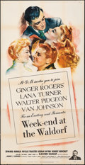"Movie Posters:Comedy, Week-End at the Waldorf (MGM, 1945). Folded, Fine/Very Fine. Three Sheet (41"" X 80). Comedy.. ..."