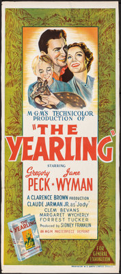 """The Yearling (MGM, R-1956). Folded, Fine+. Trimmed Australian Daybill (13"""" X 30""""). Drama"""