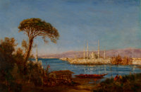 Félix François Georges Philibert Ziem (French, 1821-1911) Constantinople Oil on canvas 23-3/4 x 3