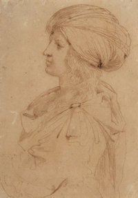 Cesare Gennari (Italian, 1637-1688) Portrait d'homme au turban Ink on paper 8-3/4 x 6-1/8 inches