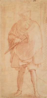 Italian School (17th Century) A bearded man holding an ax (Venetian executioner) Red chalk on paper<
