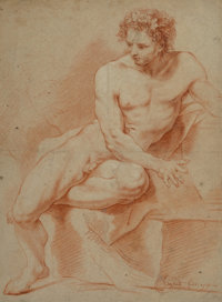 Antoine Gaspard Truchet (French, 1767-1837) Male nude, 1791 Red chalk on wove paper 19-5/8 x 14-5/8 inches (49.8 x 37