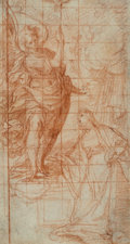 Paintings, Camillo Procaccini (Italian, 1550-1629). The Annunciation. Red chalk on paper. 7 x 3-3/4 inches (17.8 x 9.5 cm). PROPE...