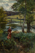 Paintings, Henry John Yeend King (British, 1855-1924). At water's edge. Oil on canvas. 36-1/4 x 24 inches (92.1 x 61.0 cm). Signed ...