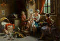 Paintings, Giuseppe Magni (Italian, 1859-1956). The happy family. Oil on canvas. 28 x 40 inches (71.1 x 101.6 cm). Signed center le...