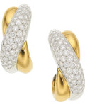 Estate Jewelry:Earrings, Diamond, Platinum, Gold Earrings, Cartier, French . ...
