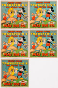 Memorabilia:Disney, Mickey Mouse TRANSFER-O-S For Easter Eggs Group of 5 (Paas/Walt Disney, 1930s).... (Total: 5 Items)