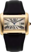 Timepieces:Wristwatch, Cartier, Tank Divan, Ref. 2602, 18k Yellow Gold, Circa 2000. ...