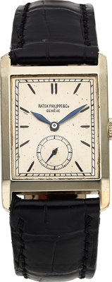 "Patek Philippe, Very Fine Large Art Deco ""Pre-Reference"" 18k White Gold Rectangular Shaped, Manual Wind 10'&qu..."