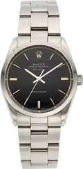 Timepieces:Wristwatch, Rolex, Air-King Ref. 5500, Matte Black Dial, Stainless Steel, Circa 1989 . ...