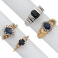 Estate Jewelry:Rings, Sapphire, Diamond, Gold Rings. ... (Total: 4 Items)