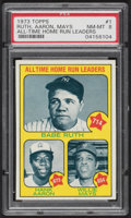 Baseball Cards:Singles (1970-Now), 1973 Topps All Time Home Run Leaders (Ruth/Aaron/Mays) #1 PSA NM-MT 8....