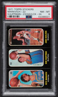 Basketball Cards:Singles (1970-1979), 1971 Topps Stickers Maravich/Kauffman/Havlicek #22/23/24 PSA NM-MT 8....