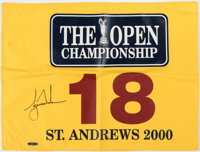Tiger Woods Signed Upper Deck Authenticated 2000 The Open Championship Flag