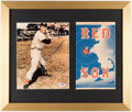 Autographs:Photos, Ted Williams Signed & Framed Photograph Display with 1956 Scorecard....
