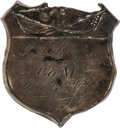 Militaria:Insignia, 9th Kansas Volunteer Cavalry: Gordon Stamps Silver I.D. Badge.. ...