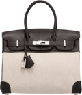 "Luxury Accessories:Bags, Hermès 30cm Cacao Clemence Leather & Toile Birkin Bag with Palladium Hardware. I Square, 2005. Condition: 2. 12"" Width x 8..."