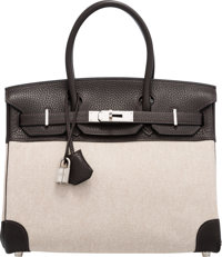 Hermès 30cm Cacao Clemence Leather & Toile Birkin Bag with Palladium Hardware I Square, 2005 Condition: 2