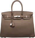 "Luxury Accessories:Bags, Hermès 35cm Etoupe Clemence Leather Birkin Bag with Palladium Hardware. O Square, 2011. Condition: 3. 14"" Width x ..."