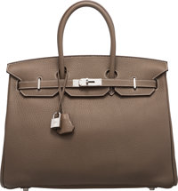 Hermès 35cm Etoupe Clemence Leather Birkin Bag with Palladium Hardware O Square, 2011 Condition: