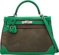 Luxury Accessories:Bags, Hermès 32cm Limited Edition Etoupe Clemence & Bamboo Evercolor Leather and Vert de Gris Doblis Suede Ghillies Birkin Bag with ...
