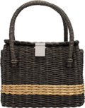"Luxury Accessories:Bags, Chanel Limited Edition Charcoal & Tan Wicker Rattan Basket Bag. Condition: 2. 10"" Width x 7"" Height x 4.5"" Depth. ..."