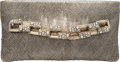 """Luxury Accessories:Bags, Chanel Pressed Leather Clutch with Crystal Encrusted Chain Side Handle. Condition: 2. 9"""" Width x 5"""" Height x .5"""" Depth. ..."""