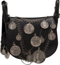 """Luxury Accessories:Bags, Chanel Black Leather Medallion Coins Saddle Bag. Condition: 2. 8.5"""" Width x 7.5"""" Height x 3.5"""" Depth. ..."""