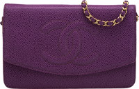 "Purple Caviar leather Chanel Timeless Wallet On Chain Condition: 3 7.5"" Width x 5"" Height x 0.5"""