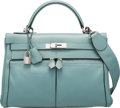 "Luxury Accessories:Bags, Hermès 32cm Ciel Swift Kelly Lakis Bag with Palladium Hardware. M Square, 2009. Condition: 2. 12.5"" Width x 9"" Hei..."