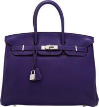 Hermès 35cm Iris Togo Leather Birkin Bag with Palladium Hardware N Square, 2010 Condition: 3<