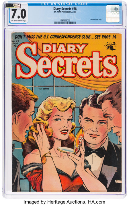 Diary Secrets #28 (St. John, 1955) CGC FN/VF 7.0 Off-white to white pages....