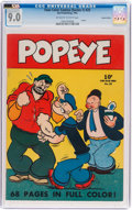 Golden Age (1938-1955):Cartoon Character, Four Color (Series One) #25 Popeye - Central Valley Pedigree (Dell, 1942) CGC VF/NM 9.0 Off-white to white pages....