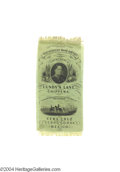 Political:Ribbons & Badges, Gorgeous 1852 Winfield Scott Campaign Ribbon On Green Silk...