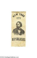 Political:Ribbons & Badges, Fine 1856 John C. Fremont Silk Ribbon...