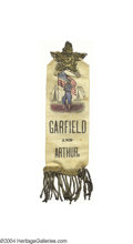 Political:Ribbons & Badges, Most Unusual And Colorful 1880 Garfield And Arthur Ribbon Badge...