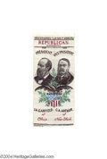 Political:Ribbons & Badges, Fine 1880 Garfield And Arthur Woven Jugate Ribbon...