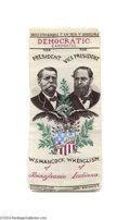 Political:Ribbons & Badges, Stunning Larger-Size 1880 Hancock And English Woven Jugate Ribbon...