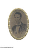 Political:Ferrotypes / Photo Badges (pre-1896), Awesome Large 1860 Lincoln Ferrotype Belt Buckle...