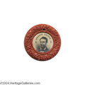 Political:Ferrotypes / Photo Badges (pre-1896), Superb 1860 Lincoln/Hamlin Ferrotype With Bright Red CompositionFrame...