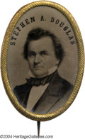 Political:Ferrotypes / Photo Badges (pre-1896), Magnificent Large Oval Stephen Douglas Ferrotype Brooch Pin From1860...